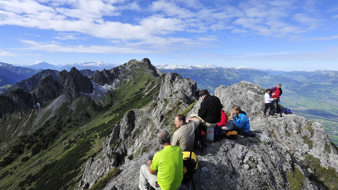 Wandern in den Bergen von Liechtenstein