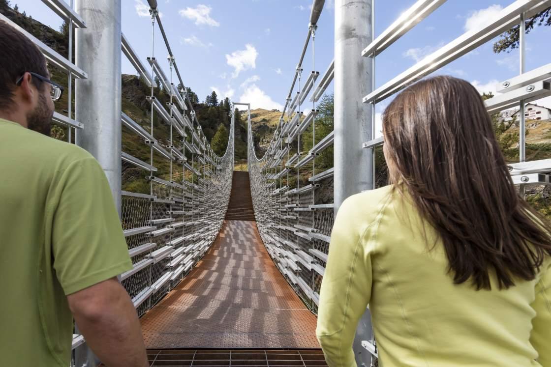 Erlebnispunkt Hängebrücke in der Plimaschlucht